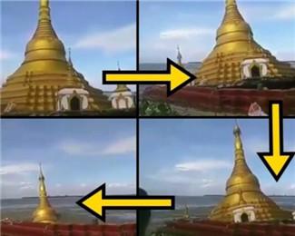 缅甸暴雨致地基软化 佛塔沉入河中