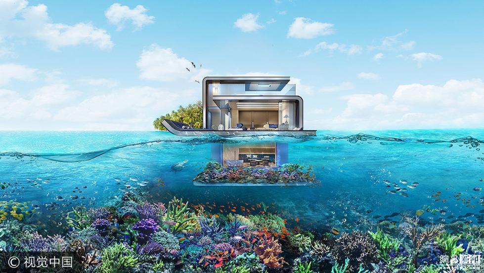 """迪拜漂浮别墅又叫做""""漂浮的海马"""",每一幢面积都足够大,大约达到300"""