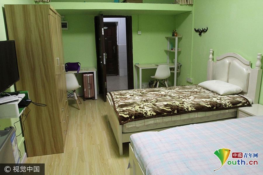 宿舍为清新田园风设计风格,装饰色调分为浅粉色和草绿色两种.图片