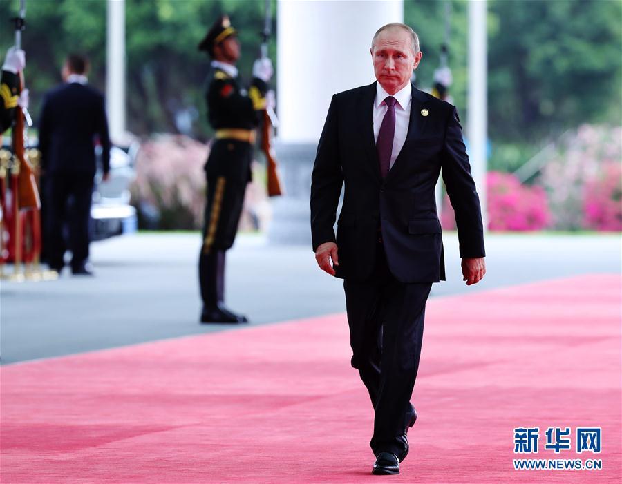 (厦门会晤·XHDW)(4)出席金砖国家领导人第九次会晤的外国领导人抵达会场