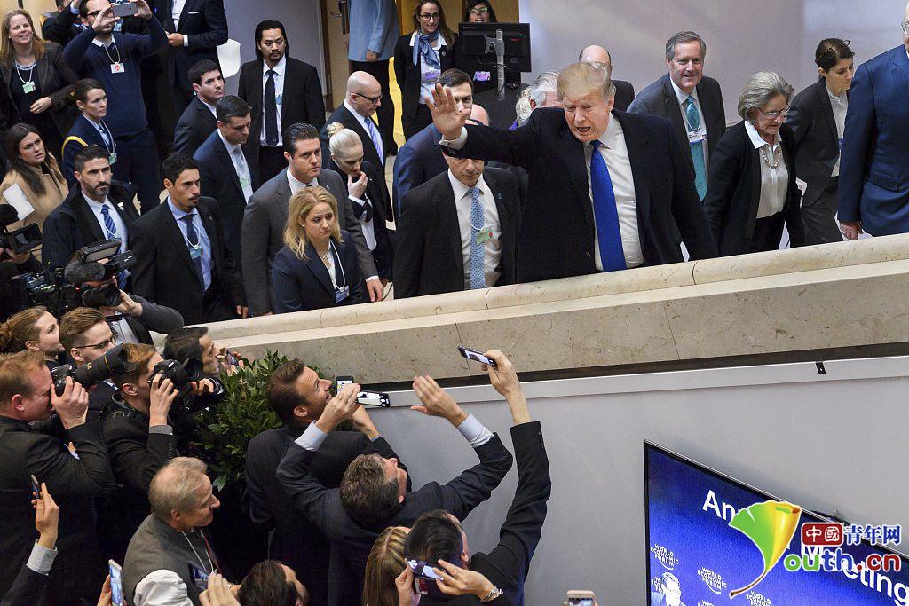 当地时间2018年1月25日,瑞士达沃斯,美国总统特朗普出席达沃斯论