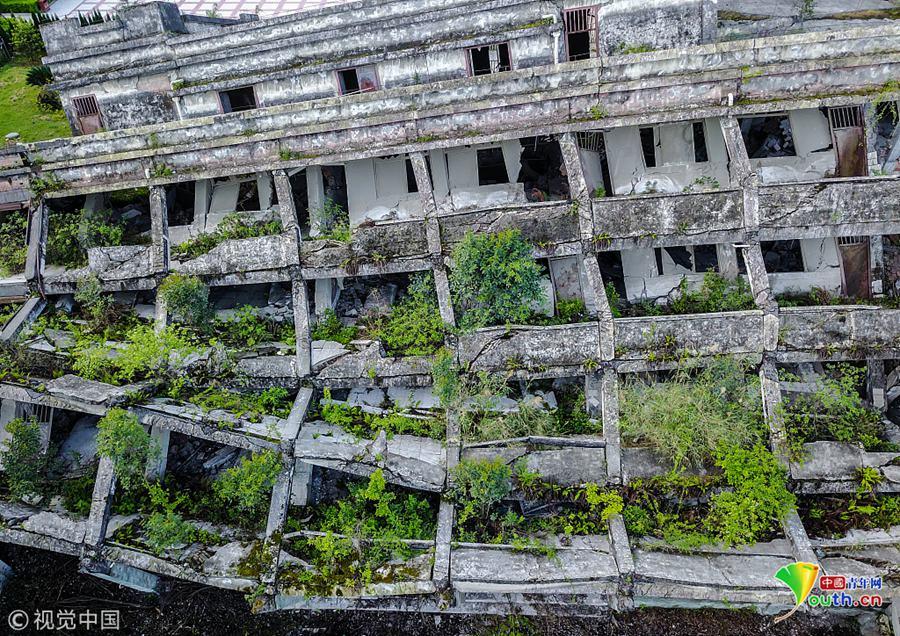 汶川大地震十周年:航拍映秀遗址新貌