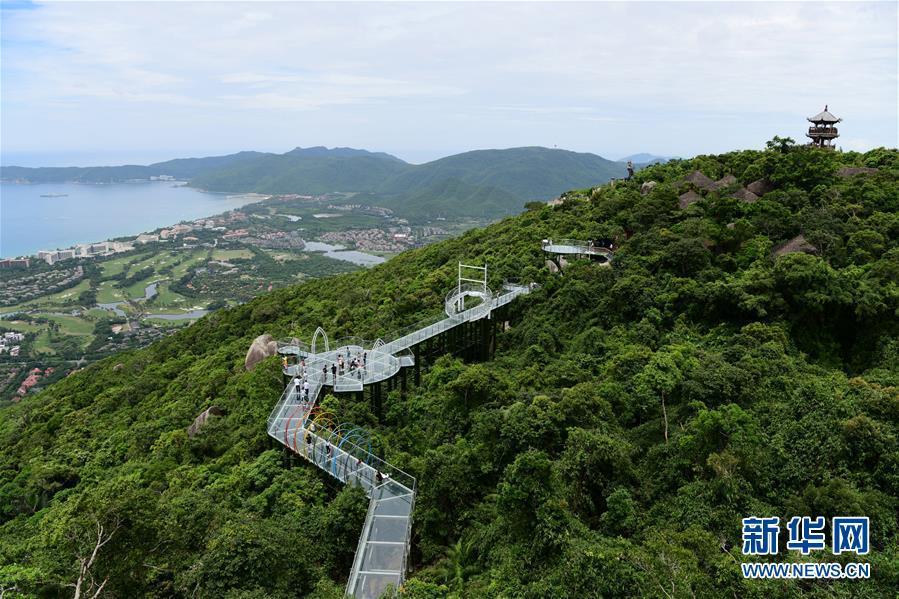 7月29日,在海南三亚亚龙湾热带天堂森林公园,人们在海景玻璃栈道上