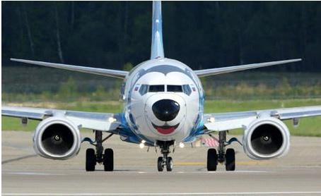 飞机涂成哈士奇 蓝色的围巾表情蠢萌【图】